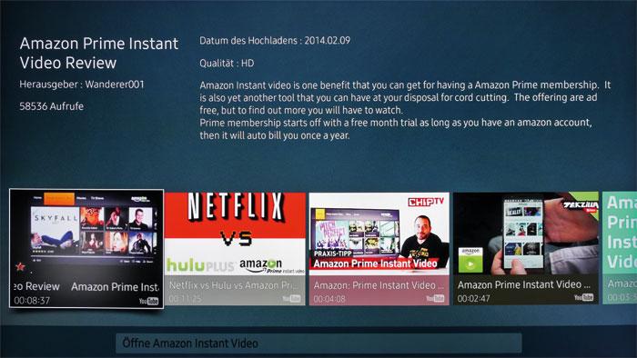 Gesprochene Wörter erkennt der Samsung-Fernseher zwar korrekt, jedoch sucht er in diesem Beispiel bei YouTube nach Amazon Instant Video statt die App zu öffnen.