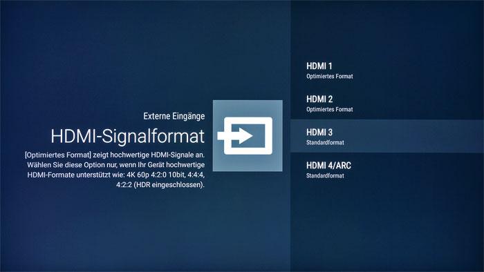 """HDR freischalten: Ab Werk sind alle vier HDMI-Eingänge nur für SDR vorbereitet. Erst nach dem Wechsel auf den Modus """"Optimiertes Format"""" wird die HDR-Fähigkeit aktiviert und an die Quelle zurückgemeldet."""