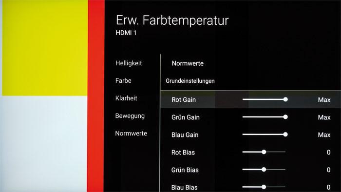 Ein detailliertes Farbmanagement sucht man beim KD-65 SD 8505 leider vergeblich. Die Korrekturmöglichkeiten beschränken sich lediglich auf den Weißabgleich.