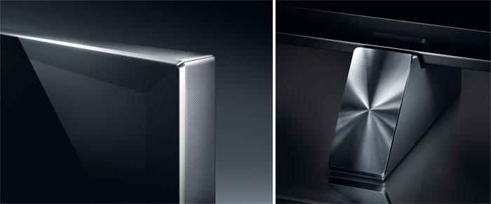 Luxuriöse Details: Der geriffelte Bildschirmrahmen und die glanzgedrehte Standsockel-Abdeckung setzen schöne Akzente. Das ganze Gehäuse ist sehr sauber verarbeitet.
