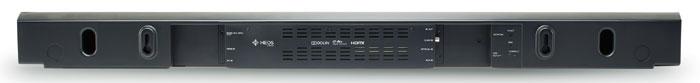 Die Heos-Soundbar kann sowohl hingelegt als auch aufgehängt werden. Zu den Anschlüssen des WLAN-Klangriegels gehören HDMI-Ein- und Ausgang sowie optischer, koaxialer und analoger AUX-Eingang.