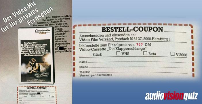 """Aber nicht nur die Hardware ist günstiger (und flacher) geworden, auch die Software! Heutzutage gibt es Blu-rays für 10 Euro, Netflix, Amazon Prime… aber wieviel musste man 1983 für die Videokassette des Films """"Die Klapperschlange"""" hinblättern? (und wer sich nicht mehr an die damalige Währung Deutsche Mark erinnert: ungefähr durch zwei teilen, dann hat man den Preis in Euro)."""