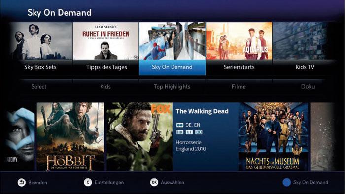 Auch Sky-on-Demand-Inhalte können EntertainTV-Kunden künftig über den neuen Telekom-Receiver MR 400 abrufen.