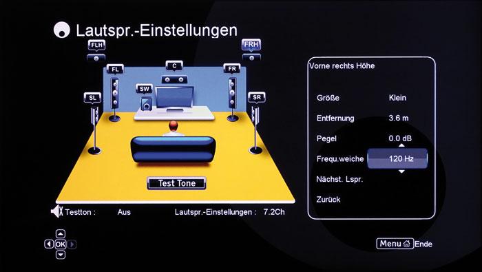 Feinjustage aller Boxen: Auch die Trennfrequenz beider Höhenboxen lässt sich separat justieren.