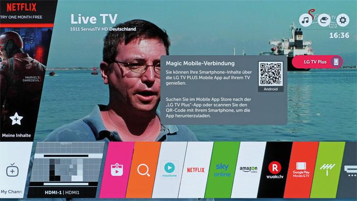 """Es liegt in Ihrer Hand: Über das neue """"Magic Mobile Connection""""-Feature können Smartphone-Inhalte mittels """"LG TV Plus""""-App auf dem Fernseher abgespielt werden."""