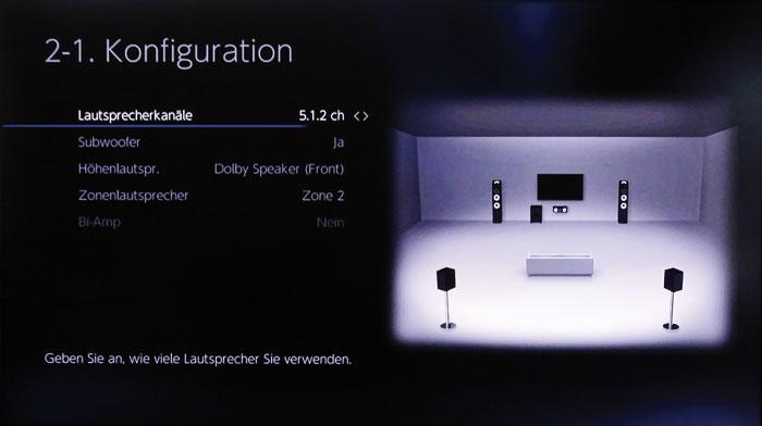 Boxen-Layout: Es sind 7.2- bzw. 5.2.2-Setups möglich, Dolby Speaker kann man vorn oder hinten platzieren.