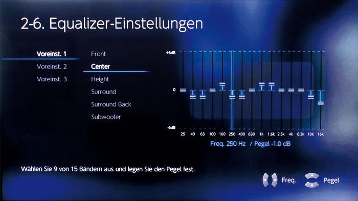 Der manuelle Equalizer besitzt 15 Bänder, von denen sich aber nur neun gleichzeitig aktivieren lassen.