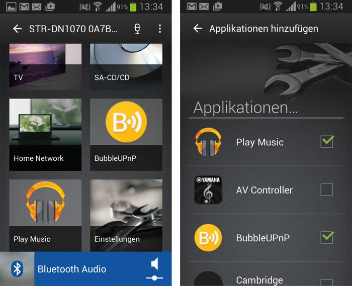 """Die SongPal-App für Android- und Apple-Smartphones besticht durch hübsche Optik und funktioniert tadellos. Über die """"Applikationen hinzufügen""""-Option kann man sogar Fremdsoftware in die App einbinden."""