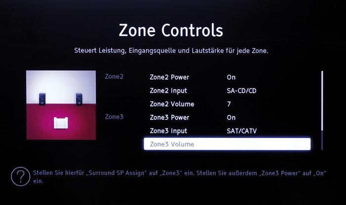 """""""Zone Controls"""": Der neue Menüpunkt ermöglicht das problemlose Einrichten zweier weiterer Hörzonen."""