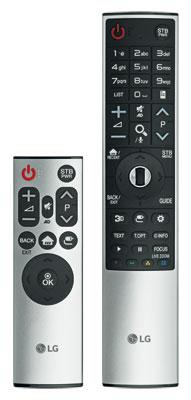 Zauberstab: Die neue Magic Remote (rechts) sieht aus wie eine klassische Fernbedienung, bietet aber die gewohnte Funktionalität mit Fuchtelsteuerung.