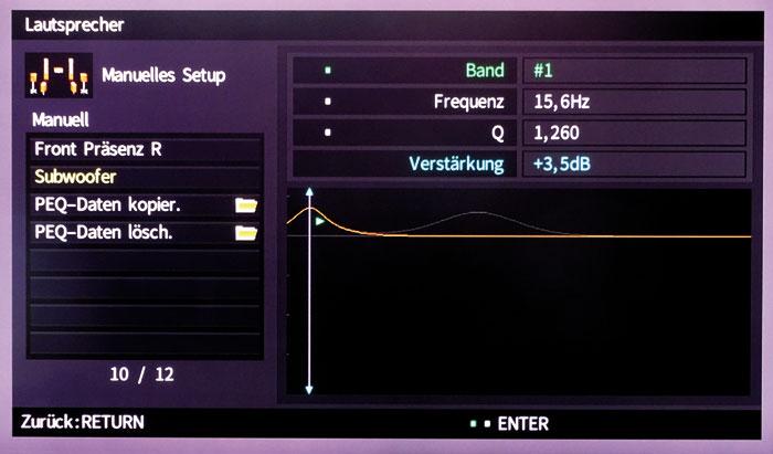 Der semiparametrische Equalizer regelt mit vier Bändern ab 15,6 Hertz nun auch den Subwoofer.