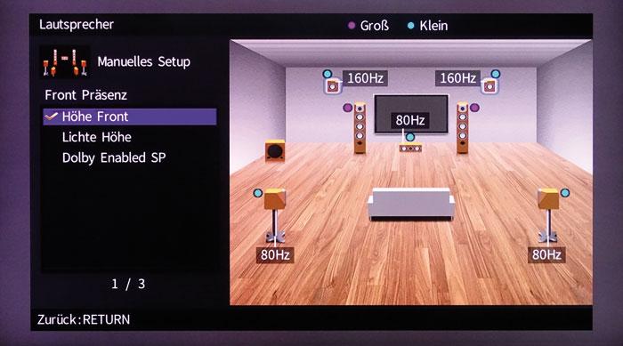 3D-Ton: Höhenboxen können als Höhe-Front sowie vordere Decken- oder Aufsatzboxen definiert werden.