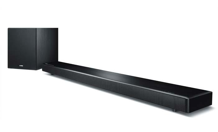 Das Yamaha MusicCast YSP-2700 Set bestehend aus Soundbar und Subwoofer gibt es in schwarz und silber.
