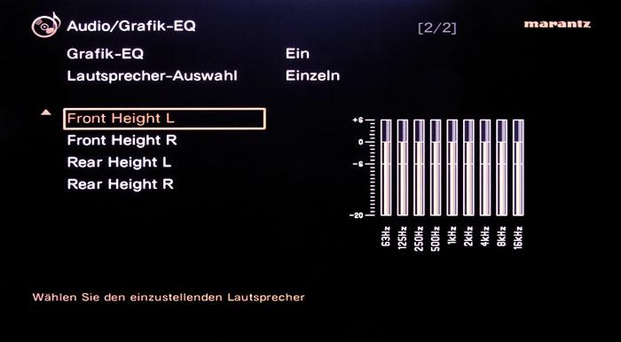 Der Equalizer greift bei allen Boxen außer den Subwoofern und regelt zwischen 63 Hz und 16 kHz.