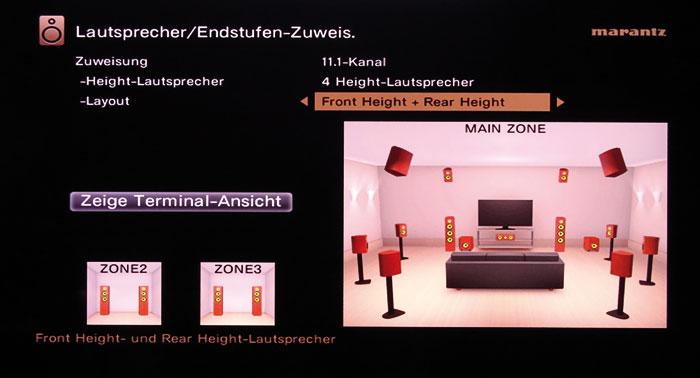 Bei aktivierten Front-Height- und Rear-Height-Boxen funktionieren der Auro 3D-, Dolby Atmos- sowie der DTS:X-Dekoder ohne Einschränkungen.