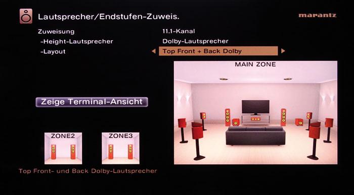Ohne Front-Height-Boxen gibt es keinen Auro 3D-Ton; nur Auros 2D-Dekoder lässt sich aktivieren. DTS:X kommt auch mit Decken- und Aufsatzboxen klar.