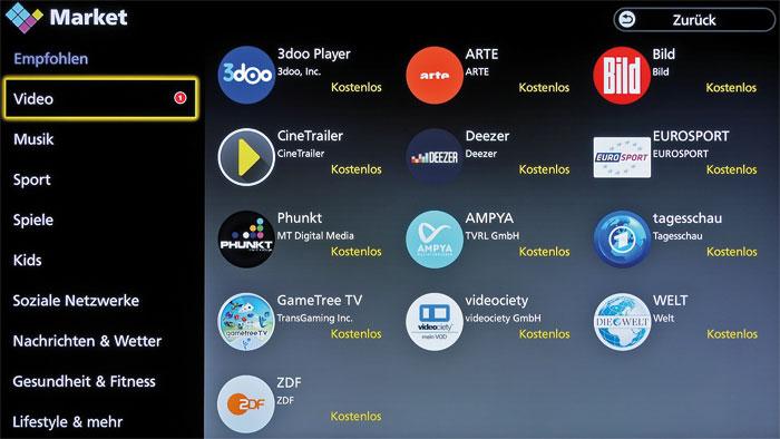 Die beliebtesten Streaming-Portale sind ab Werk auf dem Panasonic installiert. Aus dem Apps Market lassen sich zahlreiche weitere Dienste herunterladen.