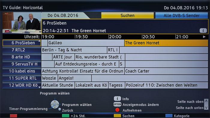 Ein Fest für TV-Freunde: Der TV-Guide des Panasonic bietet einen erstklassigen Programmüberblick mit praktischer Vorschau sowie direkter Aufnahme-Funktion.