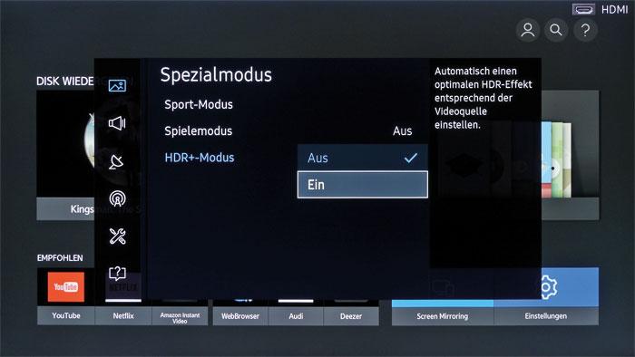 """Der Modus HDR+ lässt sich über das Bildmenü aktivieren. Er ist mit der maximalen Backlight-Stufe sowie dem erweiterten Farbraum """"Nativ"""" verknüpft."""