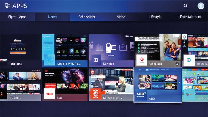 Für jeden Geschmack: Das Tizen-Betriebssystem punktet nicht nur mit hohem Bedienkomfort, es wartet außerdem mit einem reichhaltigen Smart-TV-Angebot auf.