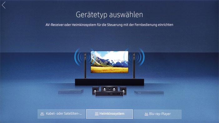 Alles aus einer Hand: Samsungs Fernbedienung kann als Universalsteuerung für weitere Heimkino-Geräte wie Blu-ray-Player oder Boxensysteme eingerichtet werden.