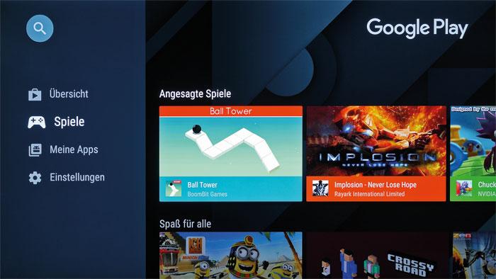 Der Google Play Store ist eines der Hauptargumente für Android-TVs. Hier finden sich schier unzählige Apps, mit denen man jede Werbepause spielend überbrückt.