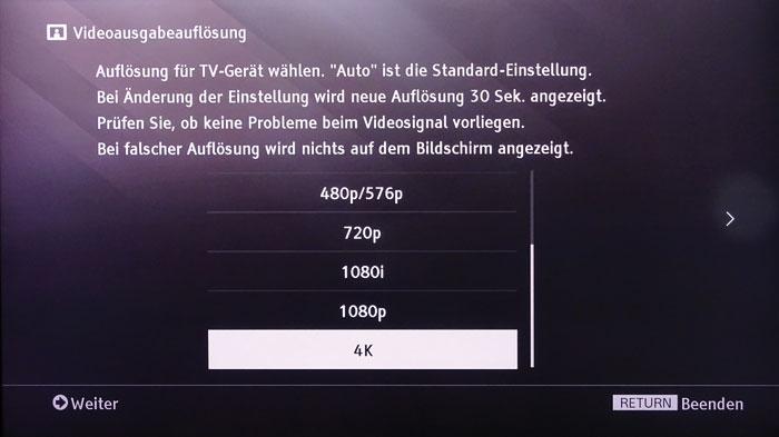 Der Sony UHP-H1 kann sowohl die native (Menüpunkt nicht im Bild) als auch eine starre Auflösung bis zu 4K an den Fernseher ausgeben.