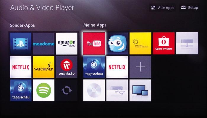 Vom Home-Menü aus lassen sich alle Funktionen des Players inklusive einiger Internet-Apps aufrufen. Alle bekannten Online-Videotheken sind abrufbar.