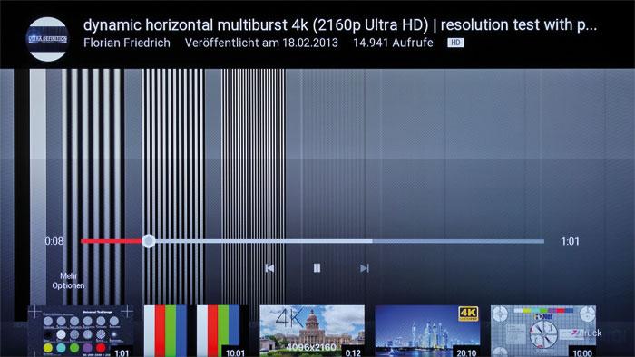 UHD-Streaming-Dienste sind beim U55 S7906 leider Mangelware. Die Auswahl beschränkt sich auf Netflix; in YouTube geht die Videoqualität nicht über 720p hinaus.
