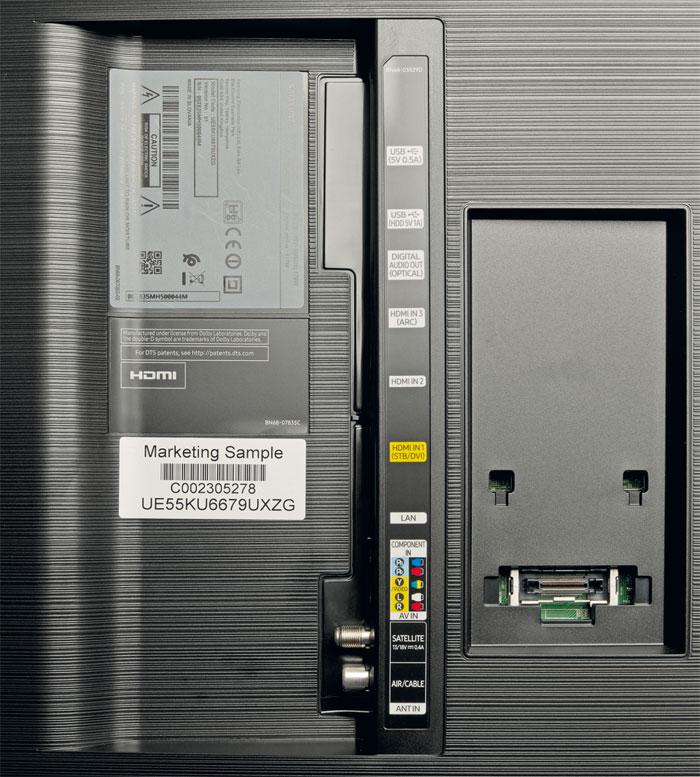Sparmaßnahmen: Der Twin-Tuner bleibt den teureren Modellen vorbehalten. Ferner hat Samsung die Anzahl der HDMI-Eingänge und USB-Schnittstellen auf drei bzw. zwei reduziert. Technisch läuft der KU 6679 dennoch zur Hochform auf.