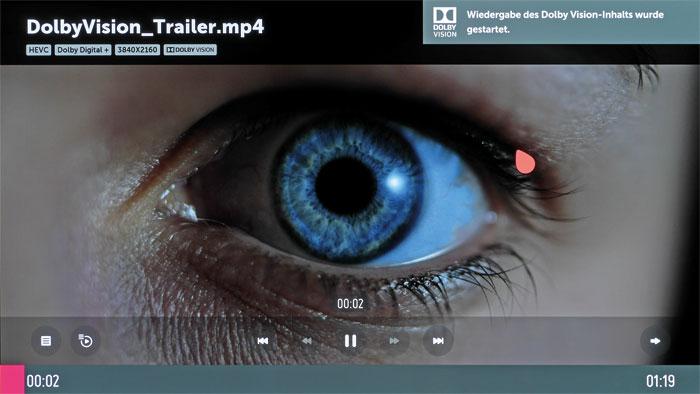 Vorbildlich: Der Mediaplayer wechselt nicht nur bei Zuspielung klassischer HDR-Inhalte, sondern auch bei Dolby-Vision-Clips in den entsprechenden Bildmodus.
