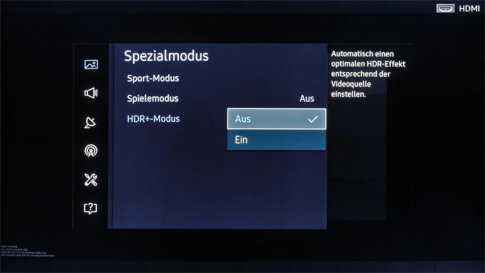 """Spezielles Trio: Im Menü """"Spezialmodus"""" erscheint an dritter Stelle die """"HDR+""""-Schaltung. Sie steigert Dynamik und Schärfeeindruck bei SDR- wie HDR-Clips."""