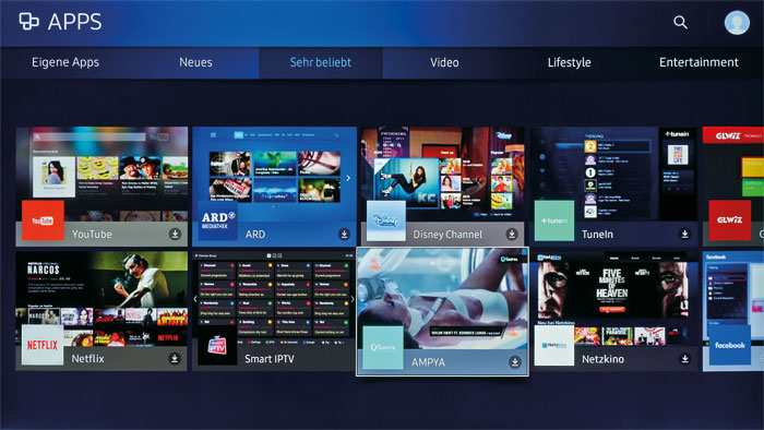 """Große Auswahl: Wem die vorinstallierten Smart-TV-Anwendungen nicht genügen, der findet unter """"Apps"""" zahlreiche weitere Internet-Dienste und Minispiele."""