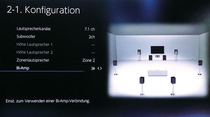Ohne Höhenboxen kann man Bi-Amping und Zone- 2-Boxen gleichzeitig aktivieren; oder auch Zone 2 und 3.