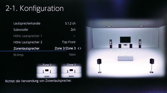 Bi-Amping oder Zone-2/3-Boxen lassen sich nur bei Setups mit maximal zwei Höhenboxen verwirklichen.