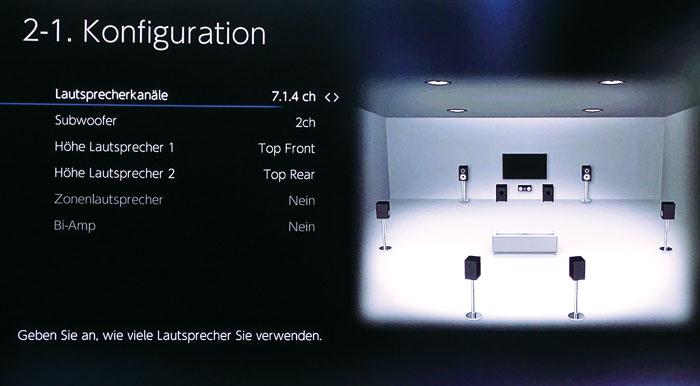 Im Konfigurationsmenü stellt man Art und Anzahl der Boxen ein, hier ein 7.2.4-Setup mit vier Top-Boxen.