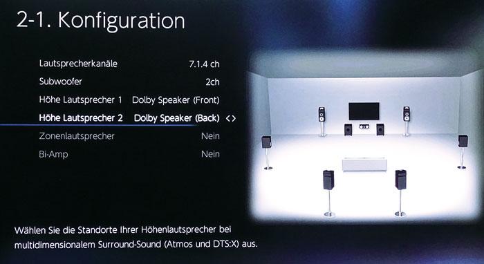 Aufsatzboxen kann man auch auf die hinteren Back-Rears setzen; bei 7.2.4- wie auch 7.2.2-Setups.