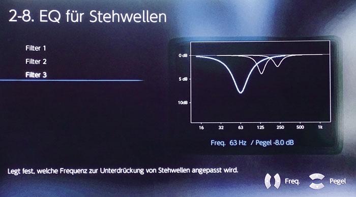 Mit drei separaten Bass-Filtern lassen sich gezielt Dröhnfrequenzen um bis zu 12 Dezibel absenken.