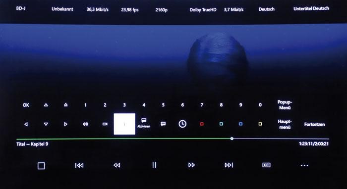 Das Info-Menü oben zeigt neben den Formaten auch die Datenraten von Bild und Ton an. Allerdings wird die Anzahl der Tonkanäle nicht aufgeführt.