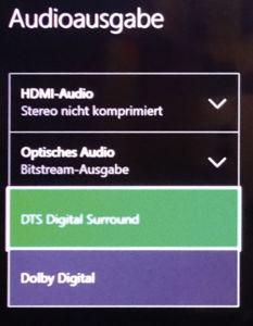 Als Bitstream gibt die Xbox DTS und Dolby Digital aus, aber keine HD-Audioformate.