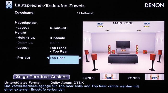 Dolby empfiehlt für optimalen Höhen-Sound 4 Deckenboxen. Im 7.2.4-Betrieb können die Frontboxen oder die Top-Rears via Pre-outs betrieben werden.