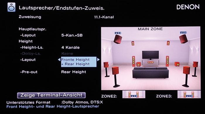 Dolby Atmos und DTS:X funktionieren auch mit 4 Height-Boxen. Im 7.2.4-Betrieb sind die Rear-Heights oder die Front-Speaker auf externe Amps angewiesen.