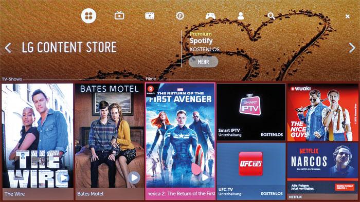 LGs Content Store ist optisch sehr ansprechend gestaltet. Hier finden sich zahlreiche kostenlose Apps sowie Filme aus dem Angebot diverser Streaming-Dienste.