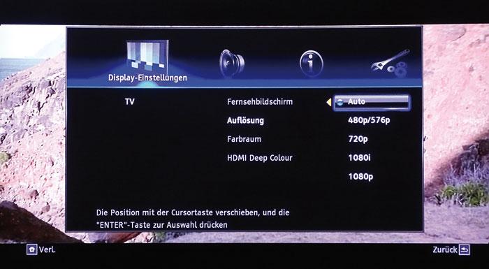 """Der Onkyo skaliert Videosignale stets auf die eingestellte Auflösung; """"Auto"""" ermittelt den Ausgangsmodus anhand der Auflösung des angeschlossenen Fernsehers."""
