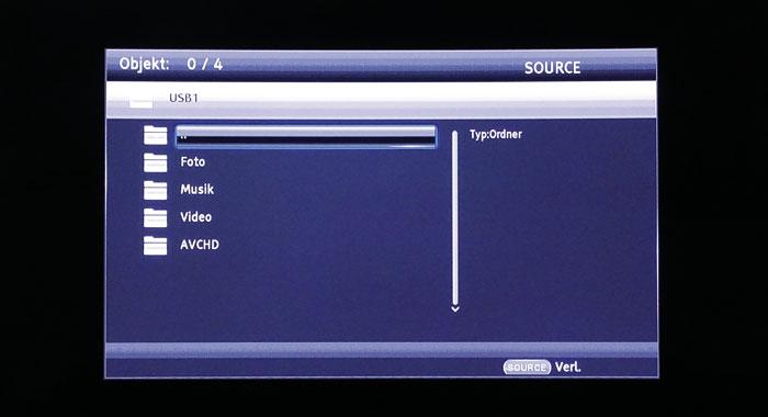 Der Mediaplayer akzeptiert Dateien nur via USB-Buchse; Inhalte sind nach Kategorien geordnet.