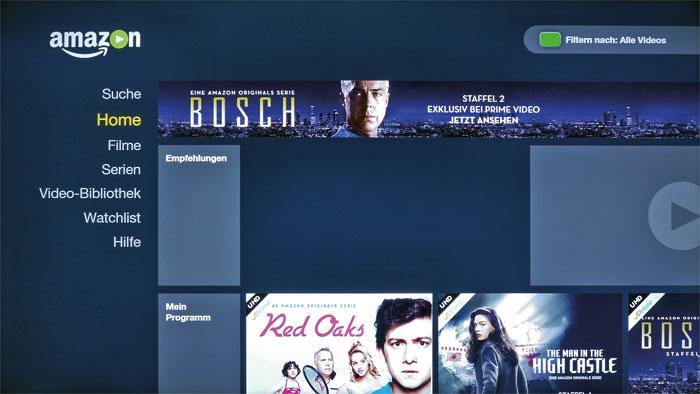 Mehr Auswahl: Musste man bei Philips bisher auf die Online-Videothek von Amazon verzichten, bringt der 65 PUS 7601 die App ab Werk mit – samt UHD-Angebot.