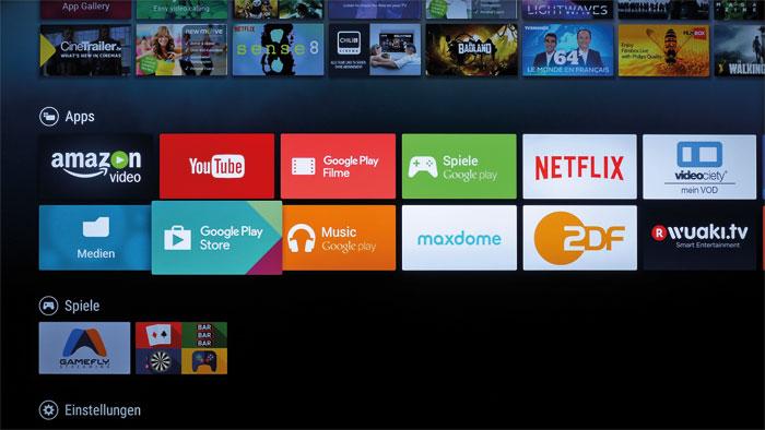 Auf Unterhaltung getrimmt: Das Android-Betriebssystem besticht durch ein exzellentes Smart-TV-Angebot. Im Google Play Store finden sich unzählige Apps.