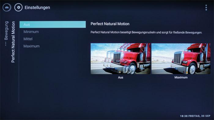 """Nicht perfekt, aber gut: Die """"Perfect Natural Motion""""-Schaltung sorgt auf Wunsch für glatte, flüssige Bewegungen, eliminiert jedoch auch den 24p-Kinolook."""