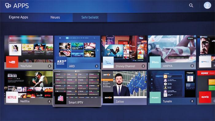 Überschaubar, aber gut: Der Samsung-TV stellt nicht so viele Internet-Dienste wie mancher Konkurrrent bereit, trotzdem ist hier für fast jeden Geschmack etwas dabei.