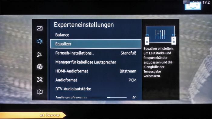 Für die Ohren: In den Experteneinstellungen des Tonmenüs können zahlreiche Klanganpassungen vorgenommen sowie Bluetooth-Audiogeräte verbunden werden.